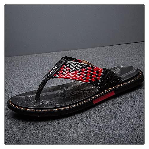 LSDTZ Zapatos Diapositivas Planas Suave Casual Hombre Sandalias Cuero Zapatillas De Verano Chanclas Tejidas (Color : Red, Size : 40yards)
