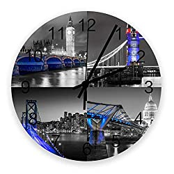 11.8 inch Silent Clock The Beautiful Night View of London Big Ben Tower Bridge Wood Wall Clock Silent Non Ticking Fashion Style Battery Clock,Decorative for Living Room Bedroom Home Office