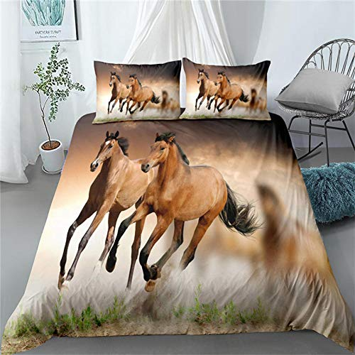 3D HD Printed Horse Galloping Quilt Bed Cover Set Comfortable Bedding Pillowcase Full Size Suitable For Men And Women 135x200cm + 50x75cm * 1