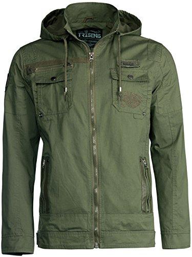 Trisens Herren ÜBERGANGSJACKE Military Style Kapuze Jacke Army Fliegerjacke, Größe:M, Farbe:Army Grün