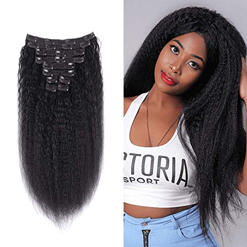 NOTICEME Kinky Straight 8A Brazilian Remy Hair Real Thick Clip in Human Extensions Natural Color Full Head Human Hair Clip ins 16 inch 10 pieces 120g/4.23oz