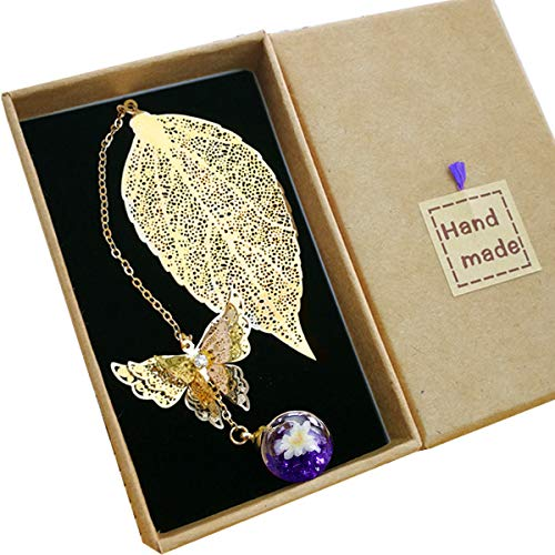 Toirxarn Metal Leaf Bookmark,with 3D Butterfly and Glass Beads Eternal Dry Flower Pendant. Ideal Gift for Reader, Woman and Kids.(Golden Leaf Purple Ball)