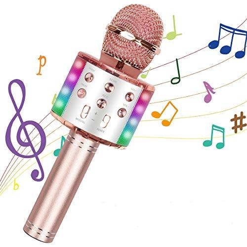 BETECK Micrófono Inalámbrico Karaoke Bluetooth Grabación Reproductor de KTV Portátil y Cantar de Mano Compatible con iPhone Android Smartphone iPad PC