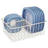 mDesign Deckelhalter – praktischer Küchen Aufbewahrungskorb mit 3 Fächern zur Aufbewahrung von Deckeln – moderner Küchen Organizer für die Speisekammer – creme