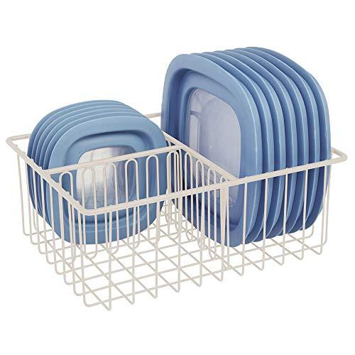 mDesign Organizador de tapaderas – Práctica cesta de almacenaje con 3 compartimentos para ordenar tapas – Moderna cesta metálica para organizar la despensa – crema