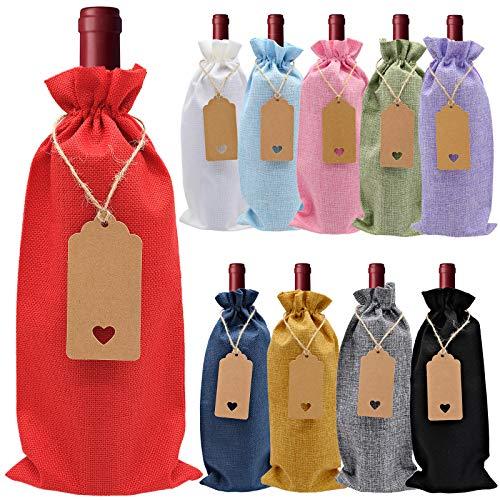 Bolsas de regalo de vino, 10 bolsas de yute para botellas de vino con cordón y etiqueta, ideales para decoración de botellas de vino
