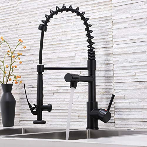 Ufaucet Modern Commercial Single Hole Stainless Steel Matte Black Pull Down Kitchen Faucet, Best Single Handle Kitchen Sink Faucet With Deck Plate