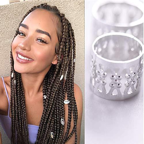 Alileader 100pcs Gold Hair Clips Dreadlock Accessories Hair Beads for Braids for Women Hair Jewelry for Women Braids Hair Accessories for Braids Hair Cuffs Hair Jewelry for Locs (Silver)