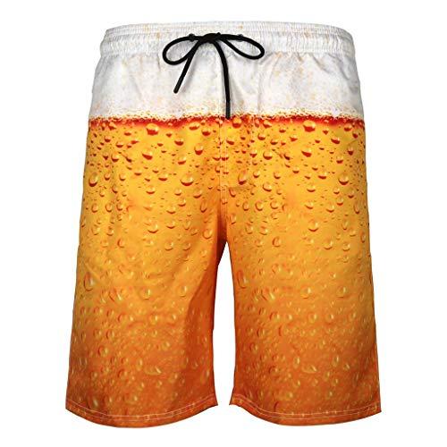 Smniao Herren Badehose Badeshort Kurze Sommer 3D Bier Druck Elastisch Surf Schnelltrocknend Männer Strand Shorts Freizeithosen S-6XL (XXXXXXL, Gold)