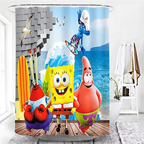 MALECUPWH Duschvorhang Antischimmel Wasserdicht Duschvorhang 240 cm Lang Polyester Stoff Cartoon Spongebob Mit Duschvorhang Ring 240X200 cm