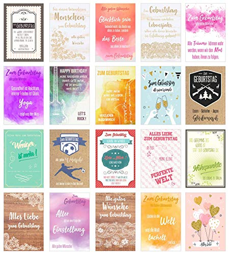 Edition Seidel Set 20 moderne Premium Geburtstagskarten mit Umschlag und Sprüchen. Glückwunschkarte Grusskarte Geburtstag Spruch. Geburtstagskarte Postkarte Postkarten Happy Birthday