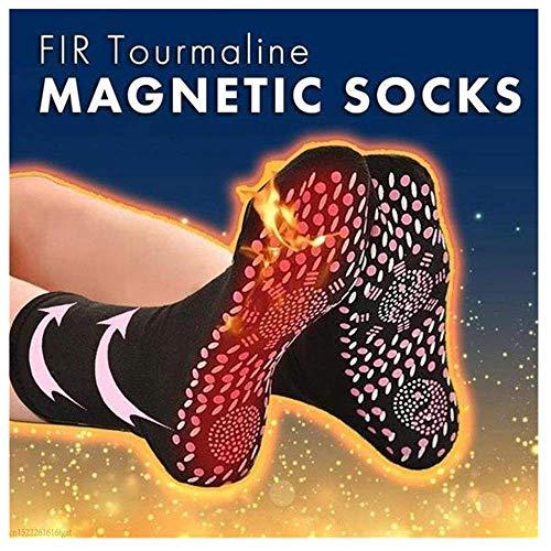 kingko Chaussettes de massage, chaussettes magnétiques de thérapie auto-chauffante à la tourmaline Chaussettes auto-chauffantes (blanc)