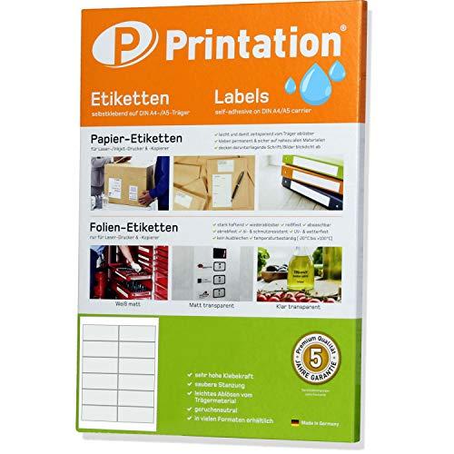 Folien-Etiketten 97 x 42,4 mm glasklar transparent auf DIN A4 Bogen - 10 Blatt - 2 x 6 Stück/Seite 120 Sticker/Aufkleber 97x42,4 klar wetterfest selbstklebend bedruckbar mit Laser Drucker