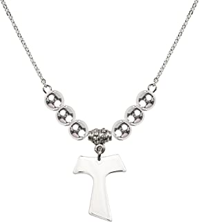 18-Inch Rhodium Plated Necklace with 6mm Sterling Silver Beads and Sterling Silver Tau Cross Charm.