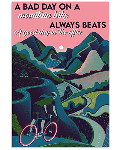 Cycling Poster A Bad Day On A Mountain Bike Beats A Good Day in The Office Wall Art Hanging Painting Paper Photography Watercolor Living Bedroom Home Decor No Frame