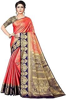 Neerav Exports Banarasi Kanjivaram Silk With Weaving Zari Butta Saree (Peach)