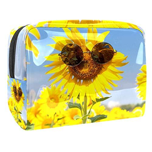 Tragbare Make-up-Tasche mit Reißverschluss, Reise-Kulturbeutel für Frauen, praktische Aufbewahrung, Kosmetiktasche, Sonnenblumen-Brille