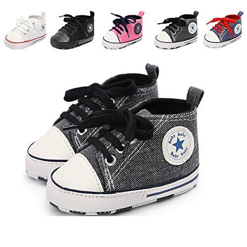 Babycute - Scarpe in tela per neonati e bambini molto piccoli che cominciano a camminare, soletta morbida, con lacci, stile casual, unisex, Beige (A2, colore: grigio navy.), 6-12 mesi