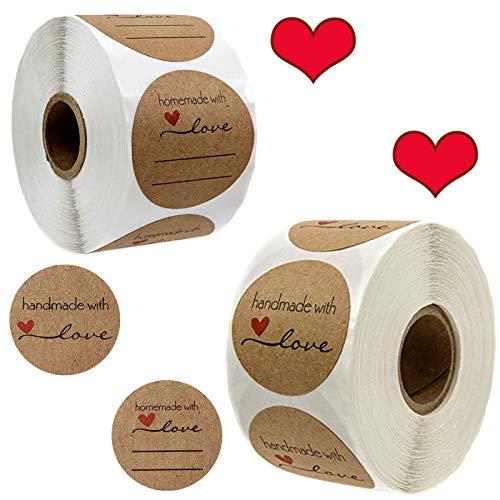 1000pcs 3.8cm Papel Kraft Etiqueta Adhesiva Pegatina Handmade with Love para Hornear en Casa, Regalo Hecho a Mano, Boda, Acción de Graciasboda, Acción de Gracias