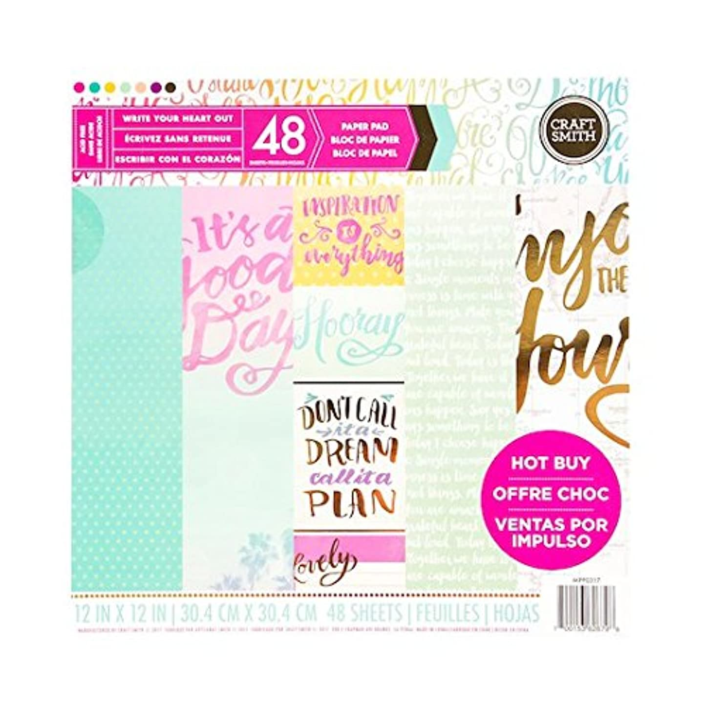Craft Smith WRITE YOIR HEART OUT Paper Pad 48 Printed Sheets 12 x 12 Scrapbook
