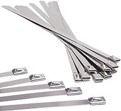 Un Paquete de 50 Bridas de Cable de Acero Inoxidable de Alta Calidad SS304 de acero de Alta calidad, Autoblocante, Fácil de Instalar - Varios Tamaños -25 Cada uno de 200 mm x 4,6 mm y 350 mm x 4,6 mm