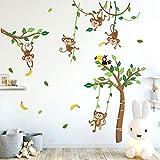 Runtoo Pegatinas de Pared Infantiles Stickers Adhesivos Vinilo Mono Árbol Decorativas Animales...