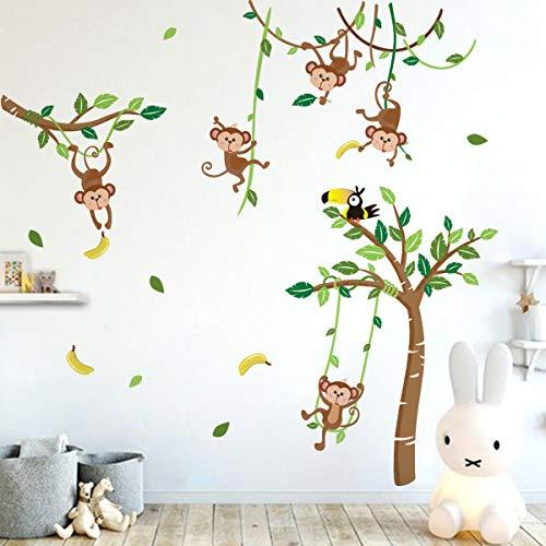 Runtoo Sticker Muraux Singe Arbres Autocollant Mural Animaux Jungle Amovible Deco Stickers Chambre Enfant Bébé Salon Decoration