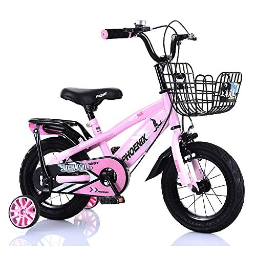 FUFU Deportes Kids Mountain Balance Bike 12-18 Pulgadas Edición clásica 2-13 años de Edad para niños Bicicleta con Frenos (Color : Pink, Size : 16in)