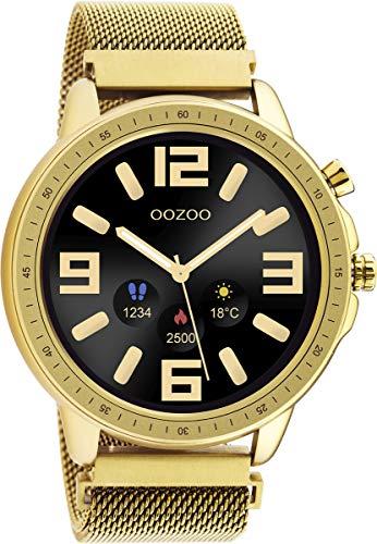 Oozoo Unisex Smartwatch mit Edelstahl Milanaiseband Goldfarben/Goldfarben 45 MM Q00306