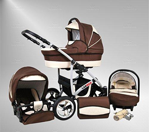 True Love Larmax Kinderwagen Sommer-Set (Sonnenschirm, Autositz & Adapter, Regenschutz, Moskitonetz, Schwenkräder) 42 Schokolade & Sahne