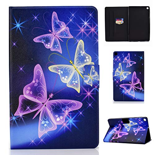 Lspcase Galaxy Tab A 10.1 Zoll 2019 Hülle PU Leder Flip Hülle Cover Magnetisch Ständer Tasche Tablet Schutzhülle mit Kartenfach für Samsung Galaxy Tab A 10.1 SM-T510 / SM-T515 Flash Schmetterling