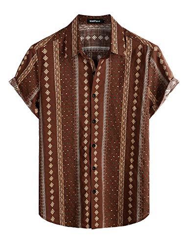 VATPAVE Mens Floral Hawaiian Shirts Short Sleeve Button Down Beach Shirts XX-Large Coffee
