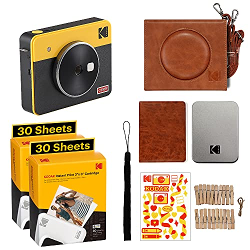 Kodak Mini Shot 3 Retro Accessory Gift Bundle 3x3 2-in-1 Instant Camera & Photo Printer, Compatible with iOS, Android & Bluetooth, Real Photo HD, 4PASS Technology & Laminated Finish – Yellow
