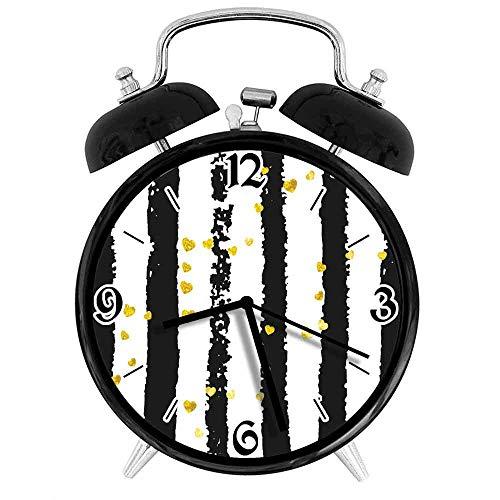 BeeTheOnly Exquisito Reloj Despertador Rayas Verticales con Tono Dorado Preciosas Formas de corazón, Adecuado para Estudio de Dormitorio de Oficina
