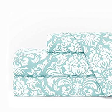 Italian Luxury Egyptian Luxury 1600 Series Hotel Collection Damask Pattern Bed Sheet Set - Deep Pockets, Wrinkle and Fade Resistant, Hypoallergenic Sheet and Pillowcase Set - King - Aqua/White