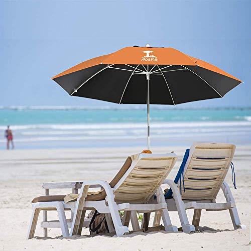 AosKe Beach Umbrella UV 50+,Umbrella with Sand Anchor & Tilt Aluminum Pole, Outdoor Sunshade Umbrella with Carry Bag?Portable Beach Umbrella with Carry Bag for Beach Patio Garden Outdoor- Orange