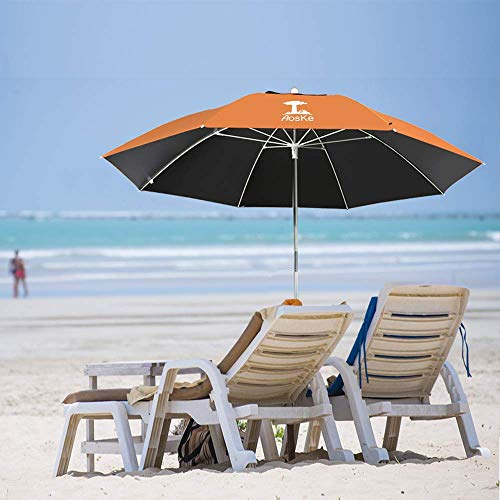 AosKe Beach Umbrella UV 50+,Umbrella with Sand Anchor & Tilt Aluminum Pole, Outdoor Sunshade Umbrella with Carry Bag,Portable Beach Umbrella with Carry Bag for Beach Patio Garden Outdoor- Orange