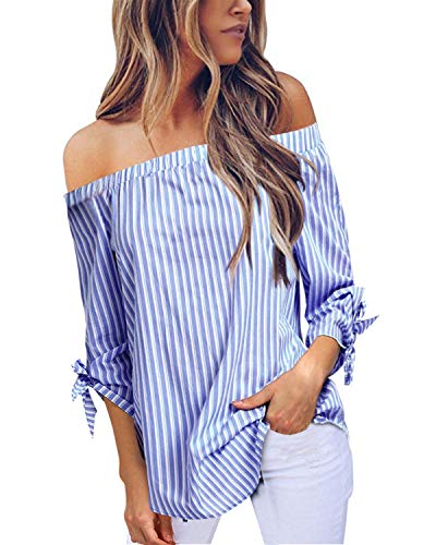 StyleDome Women Striped Off the Shoulder Elegant Shirts 3/4 Sleeve Blouse Tie Cuff Irregular Hem Sexy Tee Tops Light Blue S