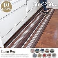 PPファブリックロングラグ(Fabric Long Rug) 250cm キッチンマット・フロアマット ターコイズ