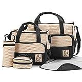 FEEE-ZC 5 Stück Multifunktionsset Baby Wickelwindel Windeltasche Umstandsmama Handtasche