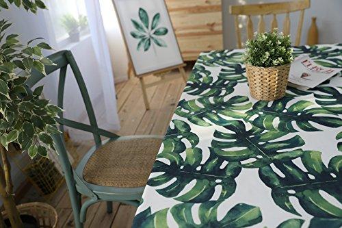 Drizzle Tovaglia Monstera Piante Verdi Palma Foglia Tavolo Panno Cucina Soggiorno Rettangolare Piazza Idrorepellente Cotone Poliestere (55 * 86in/140 * 220cm)