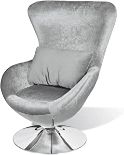vidaXL Fotel w kształcie jaja, srebrny fotel obrotowy