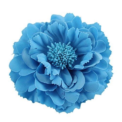 Ansteckblume, Haarblume Haarschmuckin vielen Farben, Haarblüte mit Haarclip und Sicherheitsnadel Blau