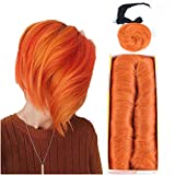 Mayloss 28 Pcs Human Hair Extensions with Top Closure Unprocessed Brazilian Curly Short Virgin Hair Weave Wavy (3' 4' 5' Mix Lenght 100g/pcs 350# Color)