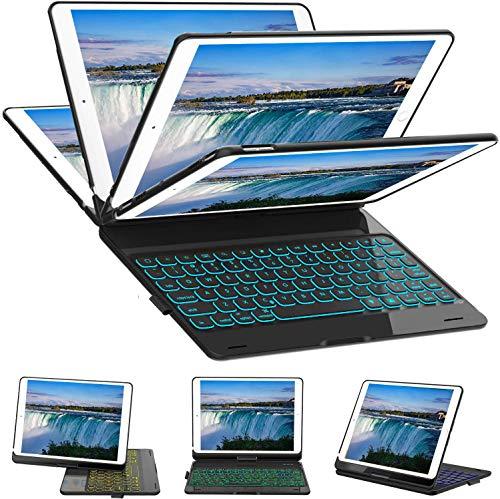 SZILBZ New iPad Keyboard Case for iPad 7th Gen 10.2 2019, iPad Air 3rd Gen 10.5 2019, iPad Pro 10.5 2017 - Backlit - 360 Rotate - Bluetooth iPad Keyboard - Black