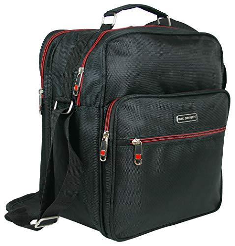 BAG STREET INTERNATIONAL Robuste Arbeitstasche   Handtasche für Männer   Flugbegleiter   Herren-Schultertasche   Schwarz (Hochformat)