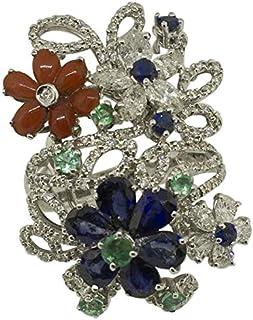 Anello Oro Bianco, Corallo, Diamanti, Zaffiri e Smeraldi