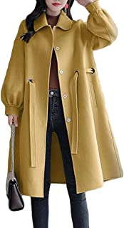 Macondoo Womens Casual Overcoat Belt Wool Blend Trenchcoat Pea Coat