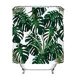 LB Duschvorhang Blätter Grün 150x180cm Tropisch Dschungel Palmen Pflanze Weiß Bad Vorhang Polyester Stoff Antischimmel Wasserdicht Badezimmer Vorhänge für Dusche,mit Haken