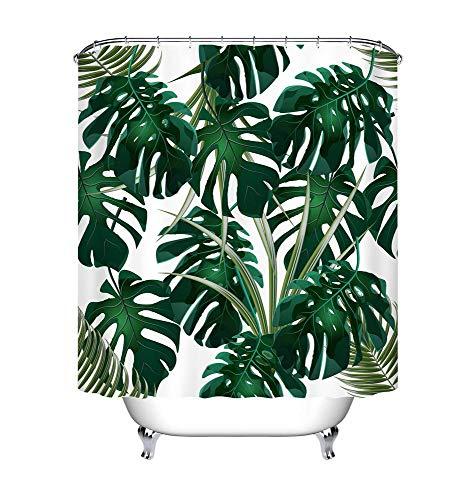 LB 150x180cm Duschvorhang Dunkel Grün Monstera Blätter Wasserdicht Anti Schimmel Weiß Polyester Badezimmer Vorhänge mit 10 Haken,Tropisch Dschungel Pflanze
